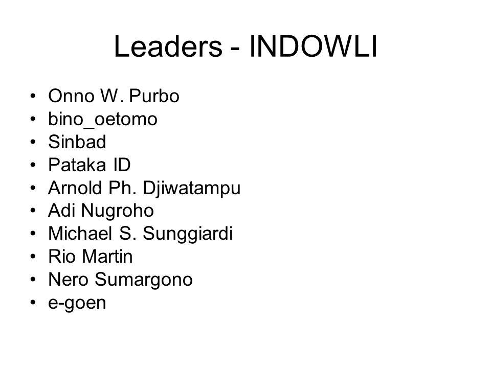 Leaders - INDOWLI Onno W. Purbo bino_oetomo Sinbad Pataka ID Arnold Ph. Djiwatampu Adi Nugroho Michael S. Sunggiardi Rio Martin Nero Sumargono e-goen