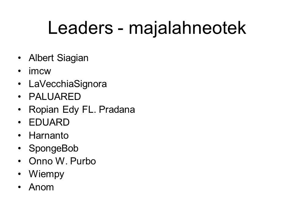 Leaders - majalahneotek Albert Siagian imcw LaVecchiaSignora PALUARED Ropian Edy FL. Pradana EDUARD Harnanto SpongeBob Onno W. Purbo Wiempy Anom
