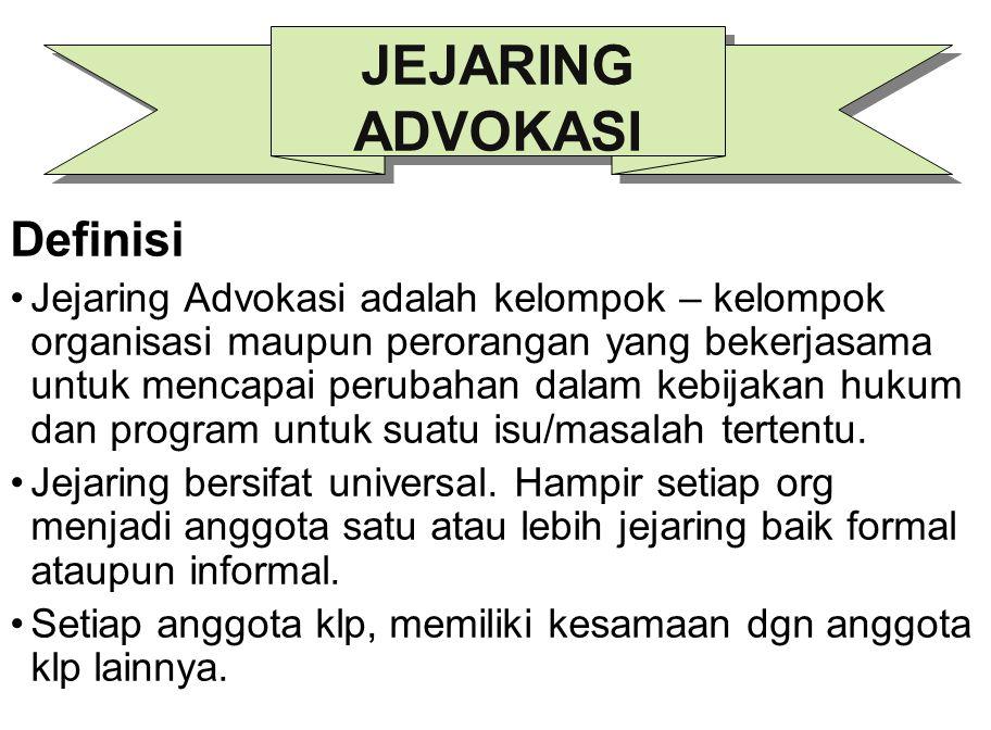 Definisi Jejaring Advokasi adalah kelompok – kelompok organisasi maupun perorangan yang bekerjasama untuk mencapai perubahan dalam kebijakan hukum dan
