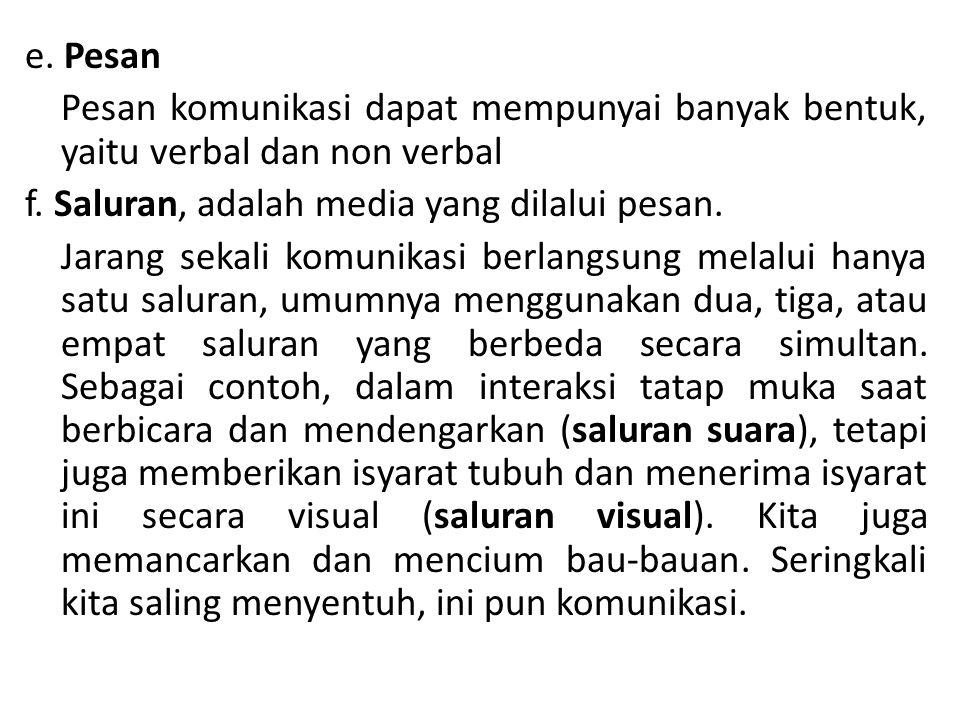 e.Pesan Pesan komunikasi dapat mempunyai banyak bentuk, yaitu verbal dan non verbal f.