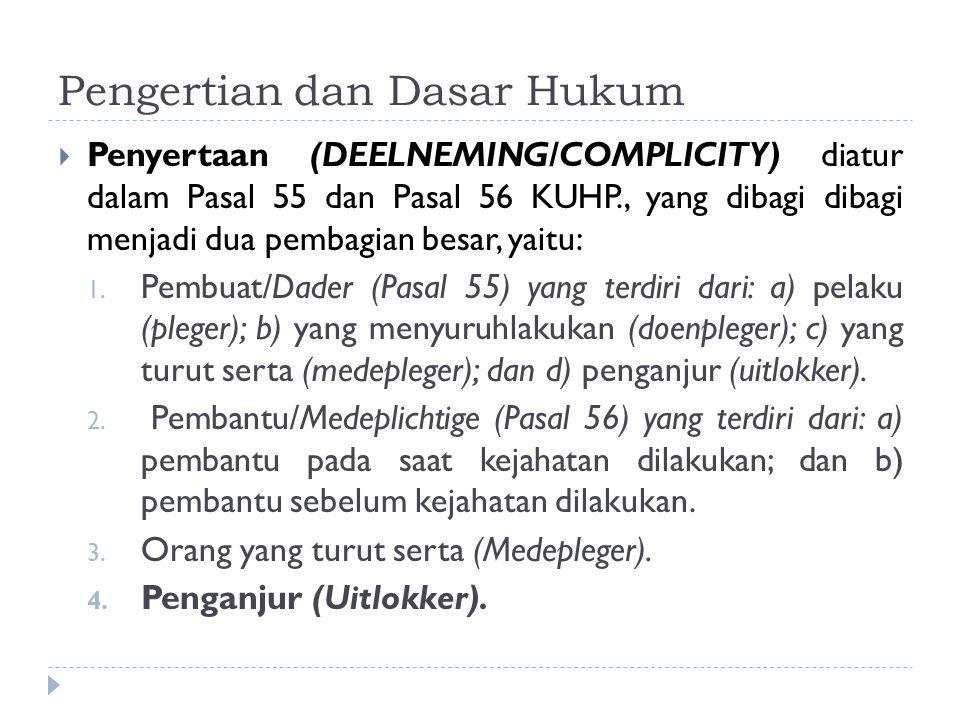 Pengertian dan Dasar Hukum  Penyertaan (DEELNEMING/COMPLICITY) diatur dalam Pasal 55 dan Pasal 56 KUHP., yang dibagi dibagi menjadi dua pembagian bes