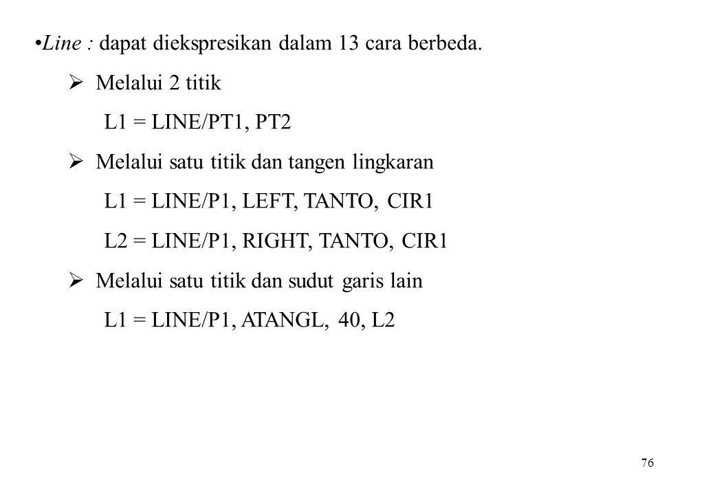 76 Line : dapat diekspresikan dalam 13 cara berbeda.  Melalui 2 titik L1 = LINE/PT1, PT2  Melalui satu titik dan tangen lingkaran L1 = LINE/P1, LEFT