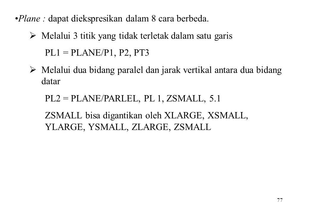 77 Plane : dapat diekspresikan dalam 8 cara berbeda.  Melalui 3 titik yang tidak terletak dalam satu garis PL1 = PLANE/P1, P2, PT3  Melalui dua bida