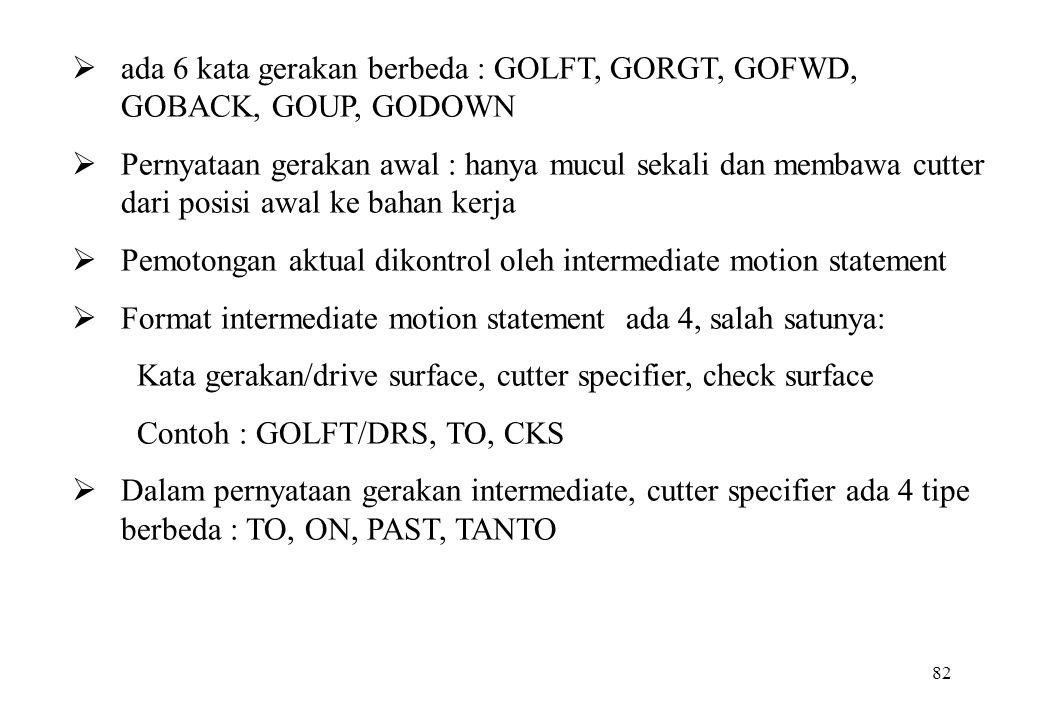 82  ada 6 kata gerakan berbeda : GOLFT, GORGT, GOFWD, GOBACK, GOUP, GODOWN  Pernyataan gerakan awal : hanya mucul sekali dan membawa cutter dari pos