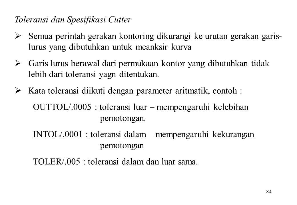 84 Toleransi dan Spesifikasi Cutter  Semua perintah gerakan kontoring dikurangi ke urutan gerakan garis- lurus yang dibutuhkan untuk meanksir kurva 