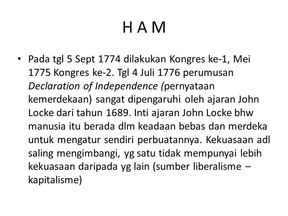 H A M Pada tgl 5 Sept 1774 dilakukan Kongres ke-1, Mei 1775 Kongres ke-2. Tgl 4 Juli 1776 perumusan Declaration of Independence (pernyataan kemerdekaa