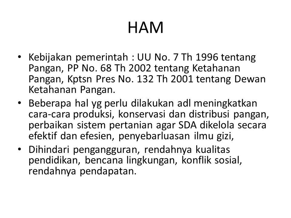HAM Kebijakan pemerintah : UU No. 7 Th 1996 tentang Pangan, PP No. 68 Th 2002 tentang Ketahanan Pangan, Kptsn Pres No. 132 Th 2001 tentang Dewan Ketah