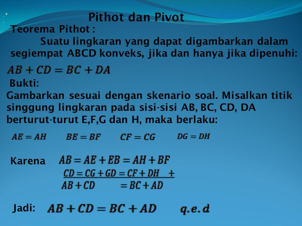 Teorema Pithot : Suatu lingkaran yang dapat digambarkan dalam segiempat ABCD konveks, jika dan hanya jika dipenuhi:. Bukti: Gambarkan sesuai dengan sk