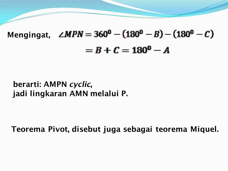 Mengingat,, berarti: AMPN cyclic, jadi lingkaran AMN melalui P. Teorema Pivot, disebut juga sebagai teorema Miquel.