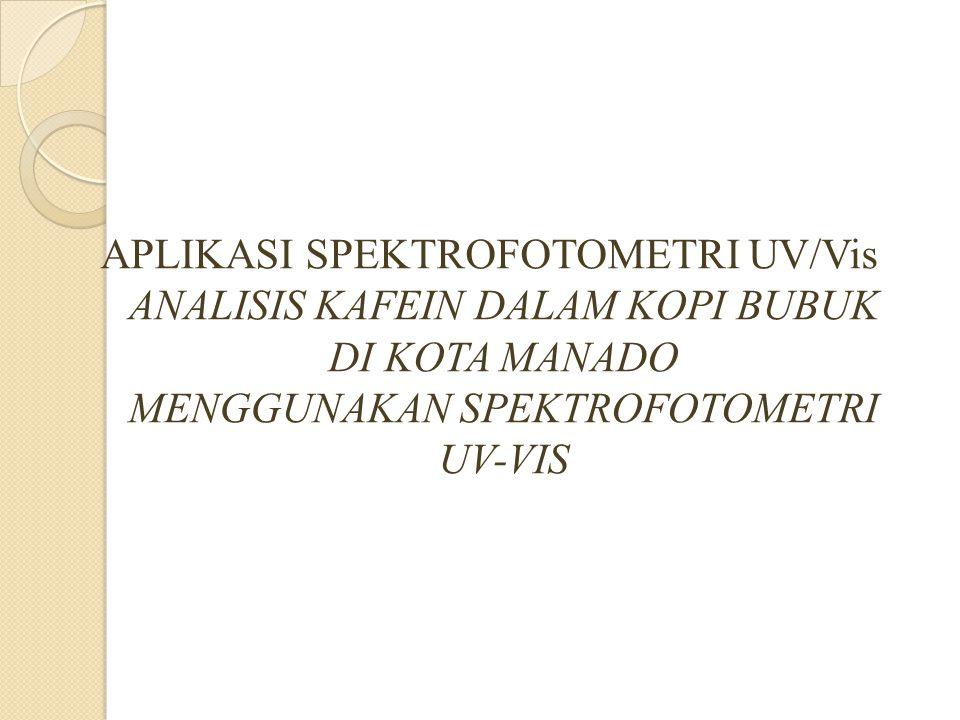 Spektrofotometri UV/Vis Spektrofotometri UV/Vis adalah teknik analisis spektroskopi yang memakai sumber radiasi elektromagnetik ultra violet dekat (190 nm – 380 nm) dan sinar tampak (380 nm – 780 nm) dengan menggunakan instrumen spetrofotometer.