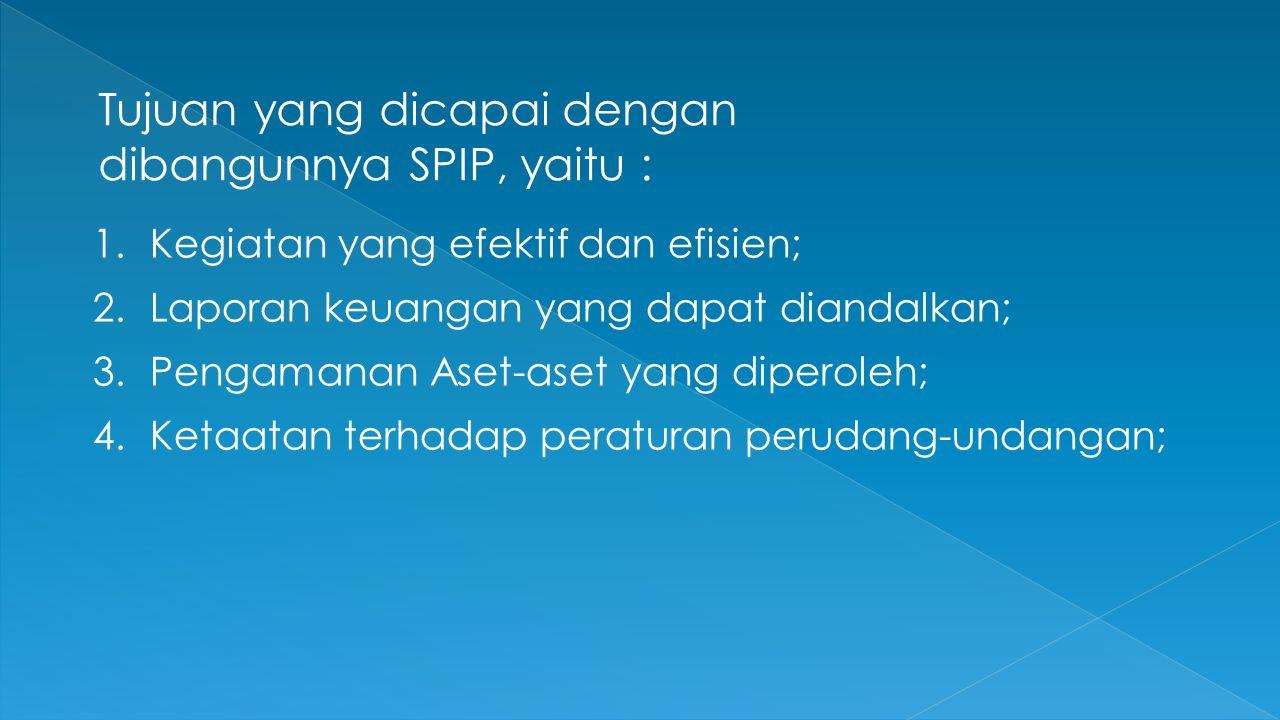 Tujuan yang dicapai dengan dibangunnya SPIP, yaitu : 1. Kegiatan yang efektif dan efisien; 2. Laporan keuangan yang dapat diandalkan; 3. Pengamanan As