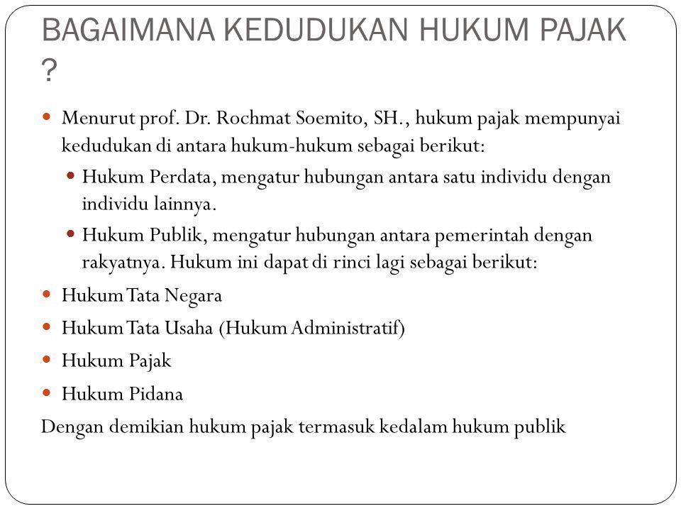 BAGAIMANA KEDUDUKAN HUKUM PAJAK .Menurut prof. Dr.