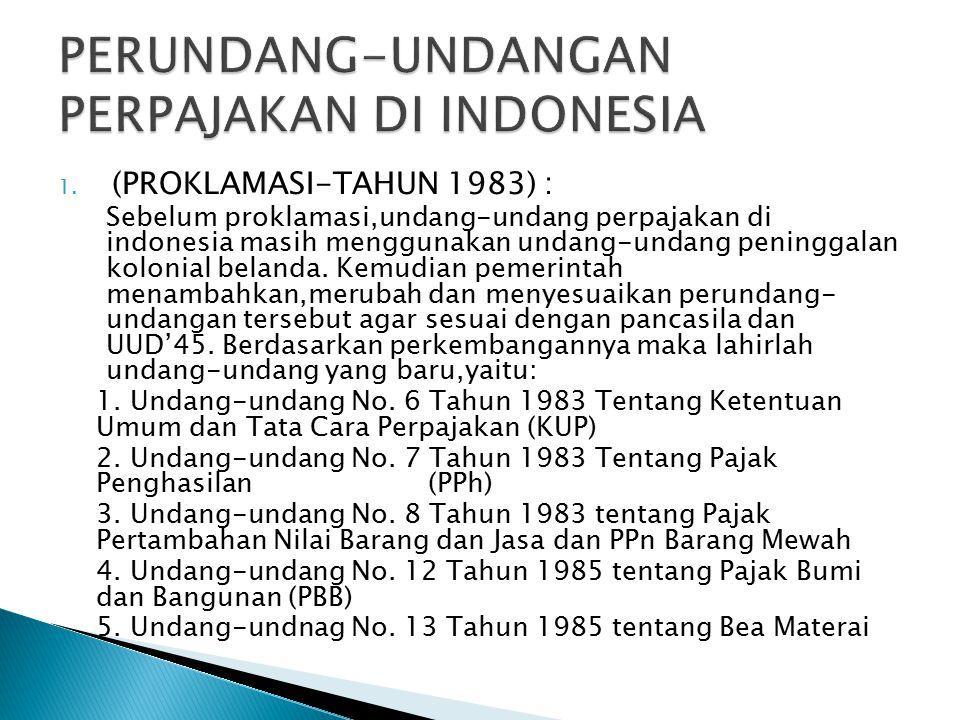 1. (PROKLAMASI-TAHUN 1983) : Sebelum proklamasi,undang-undang perpajakan di indonesia masih menggunakan undang-undang peninggalan kolonial belanda. Ke
