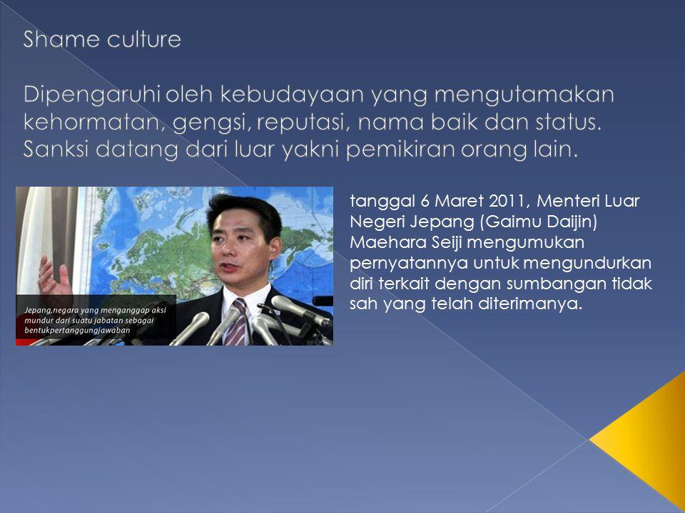 tanggal 6 Maret 2011, Menteri Luar Negeri Jepang (Gaimu Daijin) Maehara Seiji mengumukan pernyatannya untuk mengundurkan diri terkait dengan sumbangan