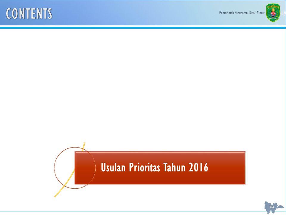 Pemerintah Kabupaten Kutai Timur 11 Evaluasi Kinerja Pembangunan Kabupaten Kutai Timur Bantuan Keuangan Provinsi Tahun 2011-2015 Usulan Prioritas Tahun 2016