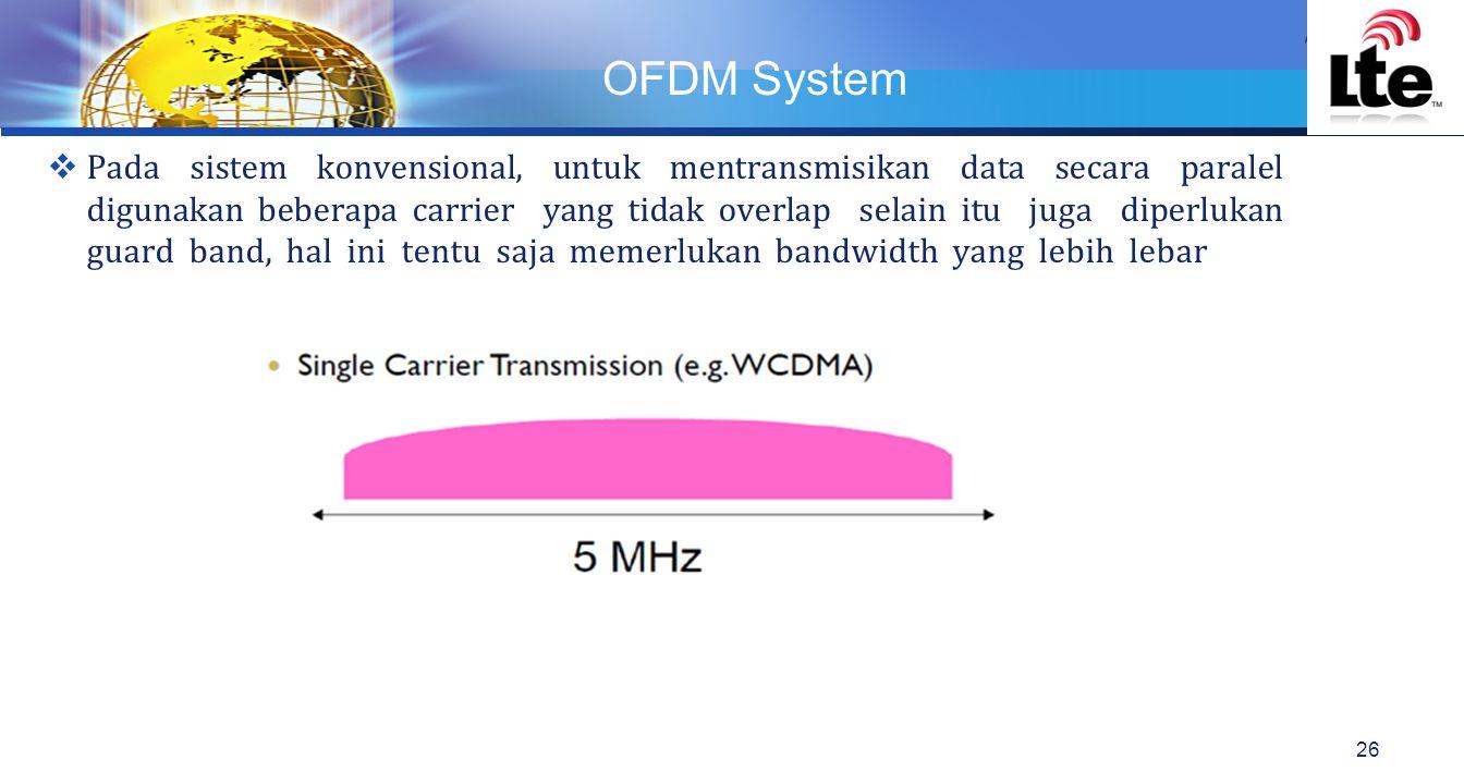 LOGO OFDM System 26  Pada sistem konvensional, untuk mentransmisikan data secara paralel digunakan beberapa carrier yang tidak overlap selain itu juga diperlukan guard band, hal ini tentu saja memerlukan bandwidth yang lebih lebar