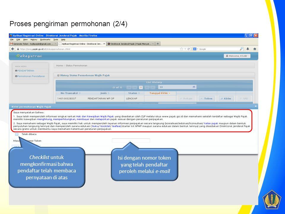 Checklist untuk mengkonfirmasi bahwa pendaftar telah membaca pernyataan di atas Isi dengan nomor token yang telah pendaftar peroleh melalui e-mail Pro
