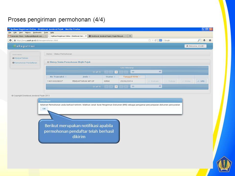 Berikut merupakan notifikasi apabila permohonan pendaftar telah berhasil dikirim Proses pengiriman permohonan (4/4)