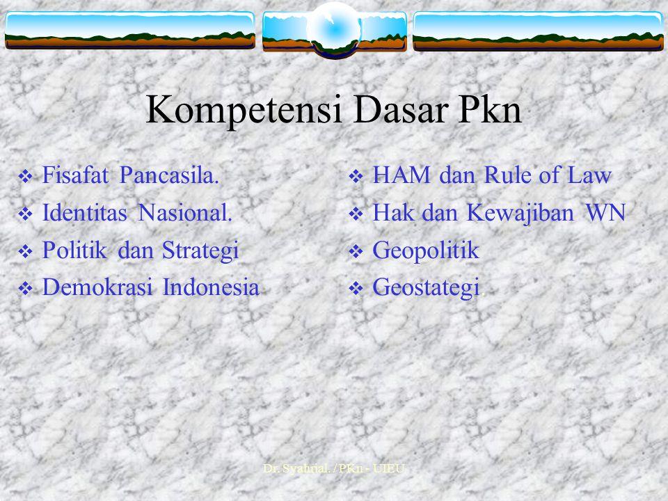 Dr.Syahrial. / PKn - UIEU Kompetensi Dasar Pkn  Fisafat Pancasila.