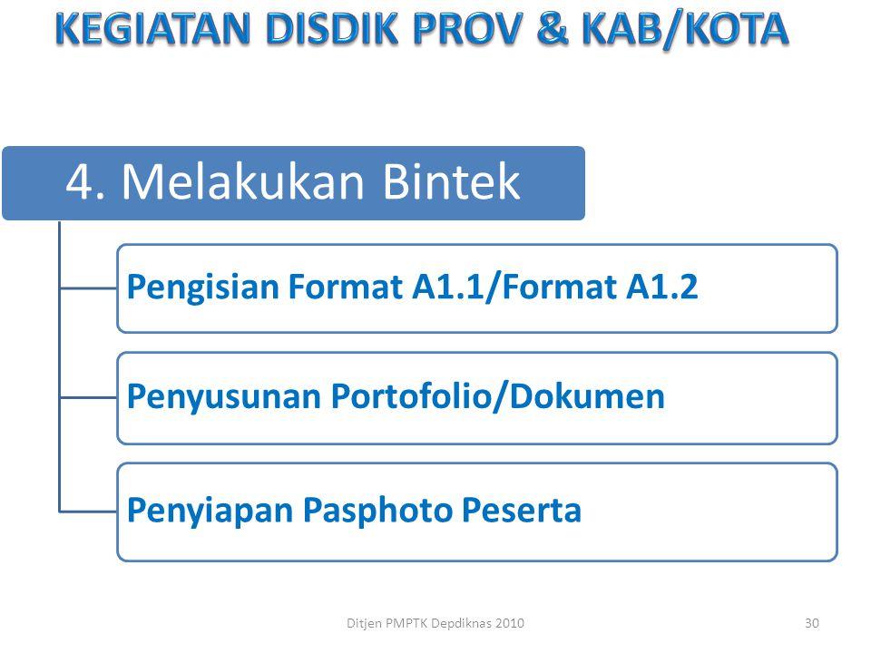 4. Melakukan Bintek Pengisian Format A1.1/Format A1.2 Penyusunan Portofolio/Dokumen Penyiapan Pasphoto Peserta 30Ditjen PMPTK Depdiknas 2010