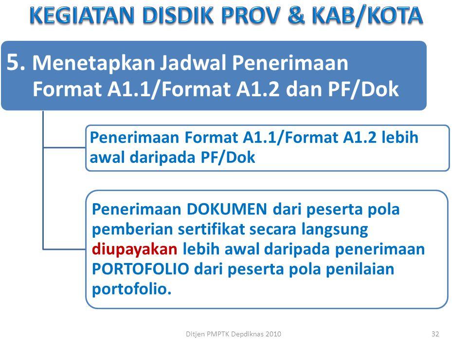 5. Menetapkan Jadwal Penerimaan Format A1.1/Format A1.2 dan PF/Dok Penerimaan Format A1.1/Format A1.2 lebih awal daripada PF/Dok Penerimaan DOKUMEN da
