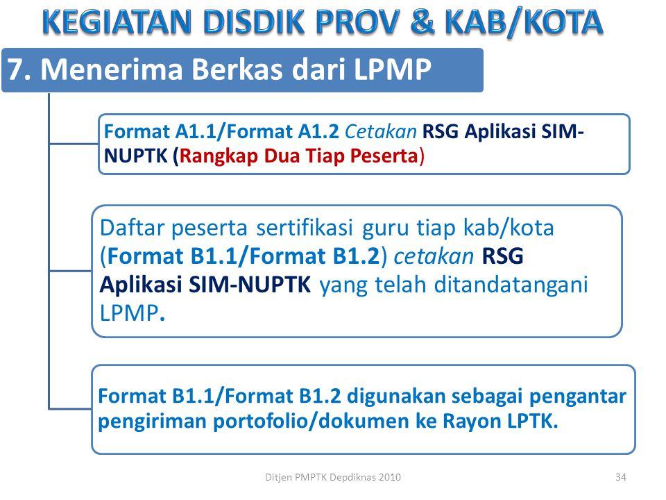 7. Menerima Berkas dari LPMP Format A1.1/Format A1.2 Cetakan RSG Aplikasi SIM-NUPTK (Rangkap Dua Tiap Peserta ) Daftar peserta sertifikasi guru tiap k