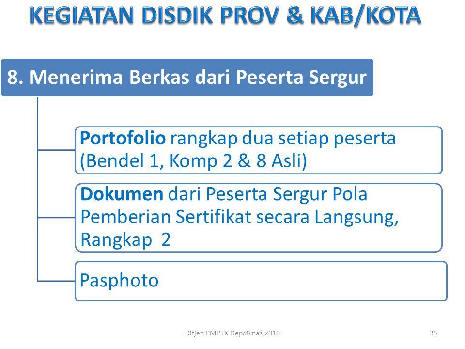 8. Menerima Berkas dari Peserta Sergur Portofolio rangkap dua setiap peserta (Bendel 1, Komp 2 & 8 Asli) Dokumen dari Peserta Sergur Pola Pemberian Se
