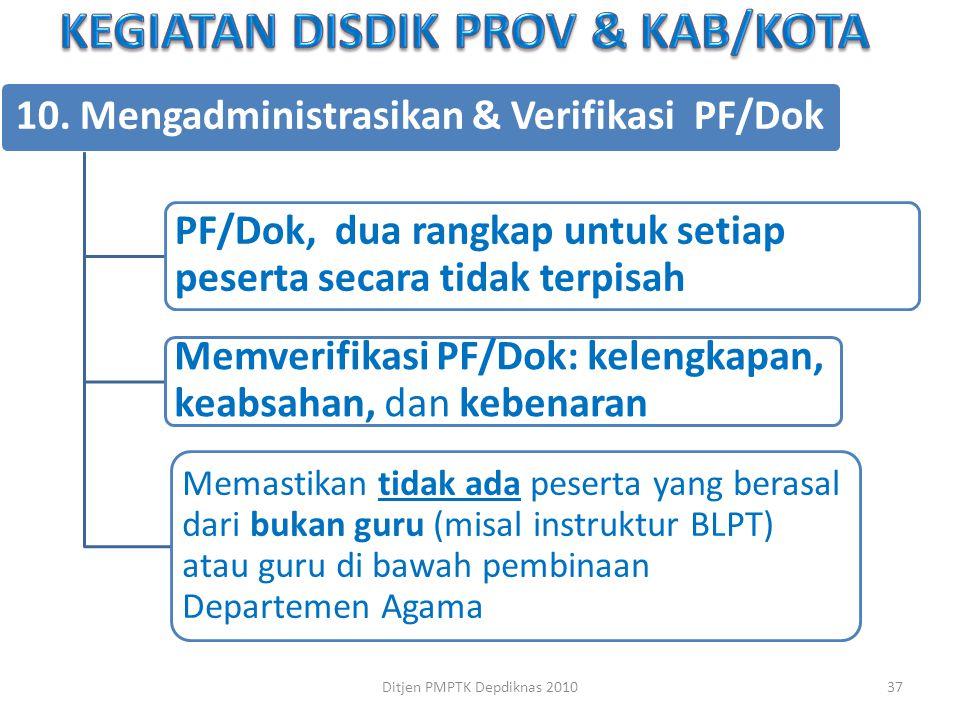10. Mengadministrasikan & Verifikasi PF/Dok PF/Dok, dua rangkap untuk setiap peserta secara tidak terpisah Memverifikasi PF/Dok: kelengkapan, keabsaha