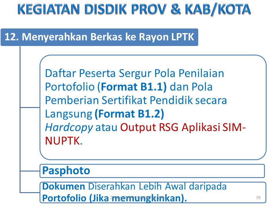 12. Menyerahkan Berkas ke Rayon LPTK Daftar Peserta Sergur Pola Penilaian Portofolio ( Format B1.1) dan Pola Pemberian Sertifikat Pendidik secara Lang