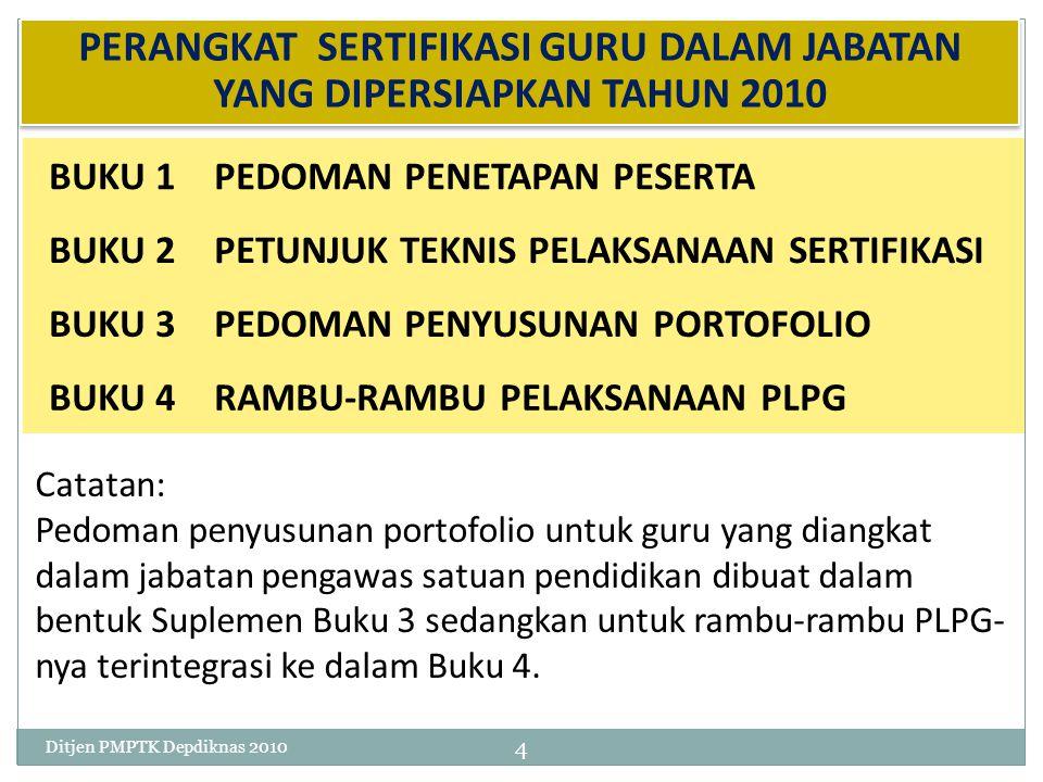 20 Memberikan penugasan (menerbitkan surat tugas) bagi peserta guru yang harus mengikuti PLPG 21 Menerima berkas hasil PLPG dan sertifikat pendidik (bagi peserta yang lulus) dari Rayon LPTK 45Ditjen PMPTK Depdiknas 2010