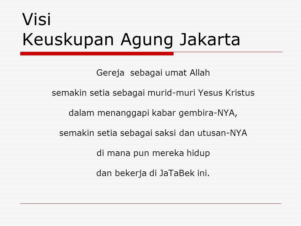 Misi Keuskupan Agung Jakarta  Memberdayakan Komunitas Basis di lingkungan teritorial maupun kategorial sehingga semakin berkualitas: Iman Persaudaraan Pelayanan kasih  Strategi Gembala Baik: memelihara mencari