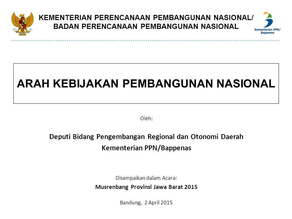 KEGIATAN STRATEGIS JANGKA MENENGAH NASIONAL PERUMAHAN Pembangunan rumah layak huni bagi rakyat miskin dan buruh (masyarakat berpenghasilan rendah / MBR) Pembangunan perumahan dan kawasan siap bangun (Kasiba) dan lingkungan siap bangun (Lisiba) Pembangunan Rusunawa (Urban Renewal) di Metropolitan Bandung Raya dan Metropolitan Bodebek Karpur DAFTAR KEGIATAN STRATEGIS DALAM RPJMN 2015-2019 (8/8) Slide - 72