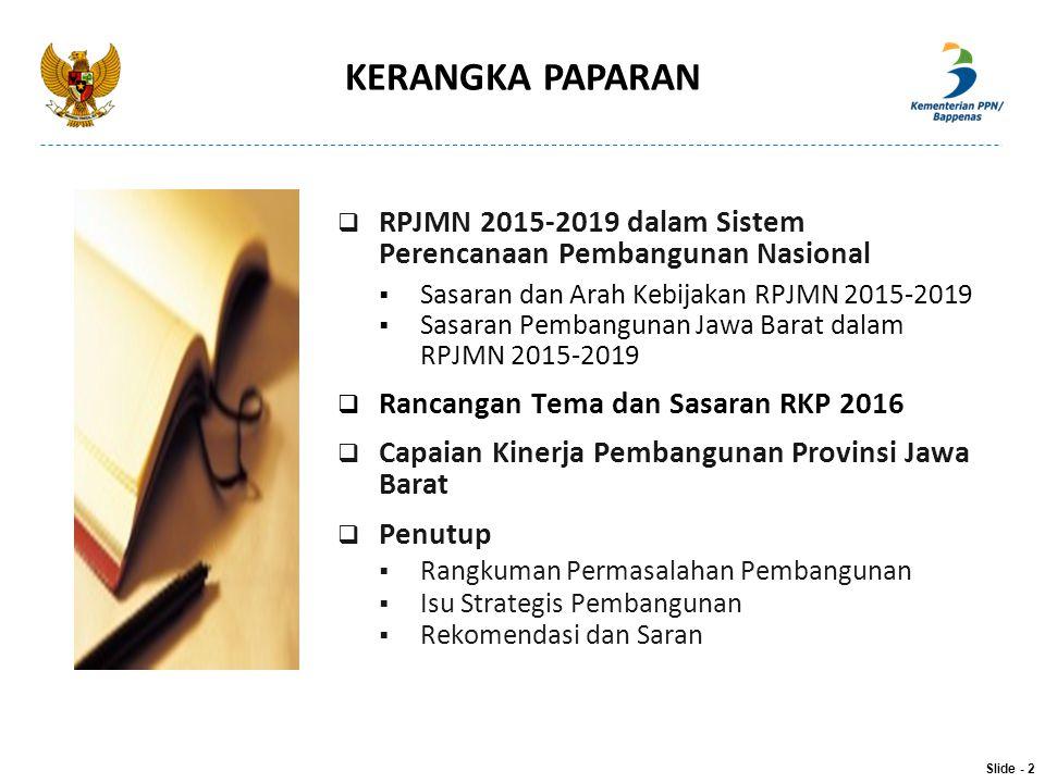 KERANGKA PAPARAN Slide - 2  RPJMN 2015-2019 dalam Sistem Perencanaan Pembangunan Nasional  Sasaran dan Arah Kebijakan RPJMN 2015-2019  Sasaran Pemb