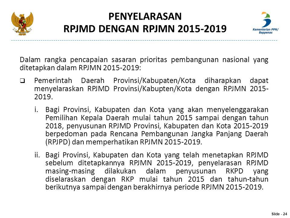 PENYELARASAN RPJMD DENGAN RPJMN 2015-2019 Dalam rangka pencapaian sasaran prioritas pembangunan nasional yang ditetapkan dalam RPJMN 2015-2019:  Peme