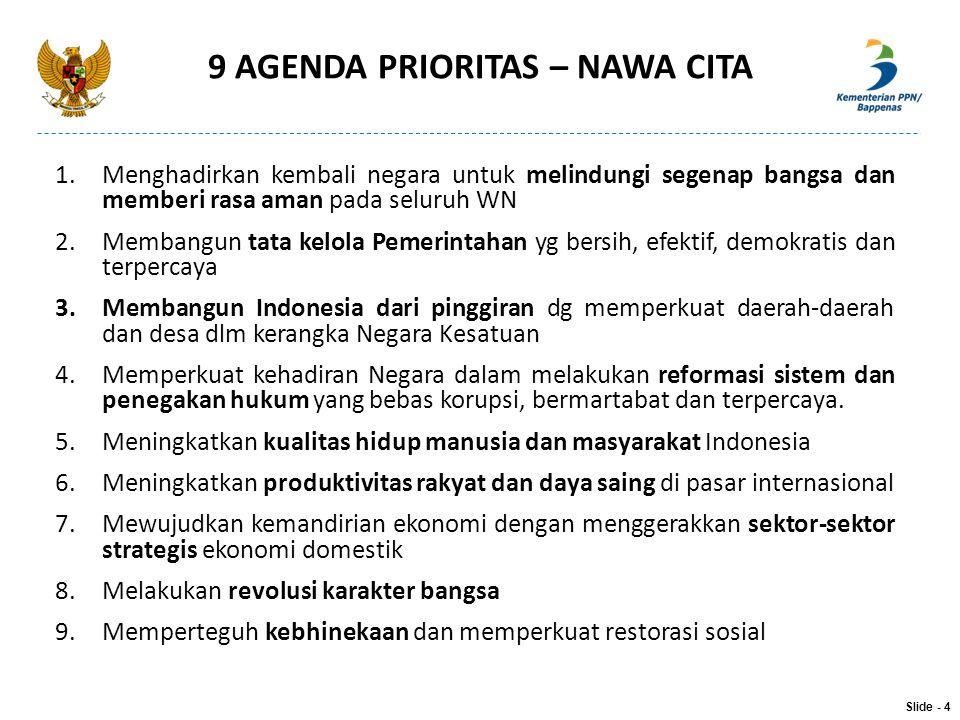 9 AGENDA PRIORITAS – NAWA CITA 1.Menghadirkan kembali negara untuk melindungi segenap bangsa dan memberi rasa aman pada seluruh WN 2.Membangun tata ke