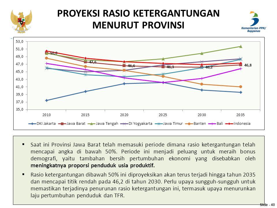 PROYEKSI RASIO KETERGANTUNGAN MENURUT PROVINSI  Saat ini Provinsi Jawa Barat telah memasuki periode dimana rasio ketergantungan telah mencapai angka