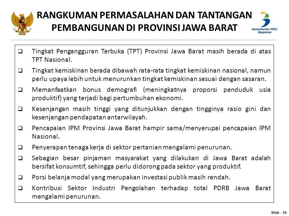  Tingkat Pengangguran Terbuka (TPT) Provinsi Jawa Barat masih berada di atas TPT Nasional.  Tingkat kemiskinan berada dibawah rata-rata tingkat kemi