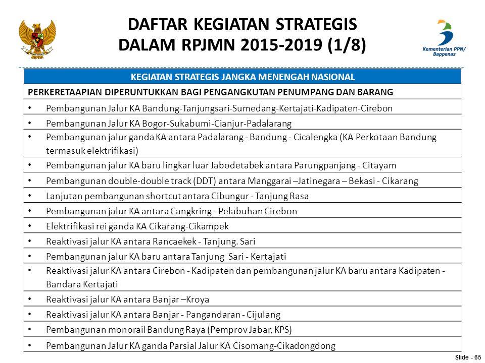 KEGIATAN STRATEGIS JANGKA MENENGAH NASIONAL PERKERETAAPIAN DIPERUNTUKKAN BAGI PENGANGKUTAN PENUMPANG DAN BARANG Pembangunan Jalur KA Bandung-Tanjungsa