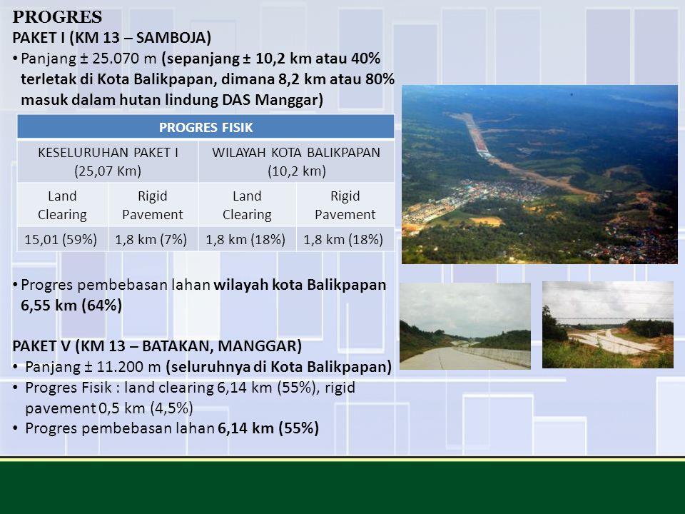 PROGRES PAKET I (KM 13 – SAMBOJA) Panjang ± 25.070 m (sepanjang ± 10,2 km atau 40% terletak di Kota Balikpapan, dimana 8,2 km atau 80% masuk dalam hut