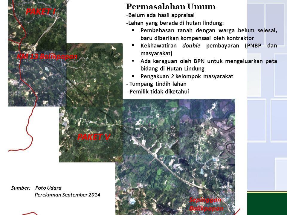 Permasalahan Umum -Belum ada hasil appraisal -Lahan yang berada di hutan lindung:  Pembebasan tanah dengan warga belum selesai, baru diberikan kompen