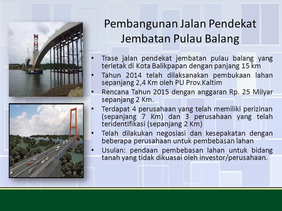 Pembangunan Jalan Pendekat Jembatan Pulau Balang Trase jalan pendekat jembatan pulau balang yang terletak di Kota Balikpapan dengan panjang 15 km Tahu