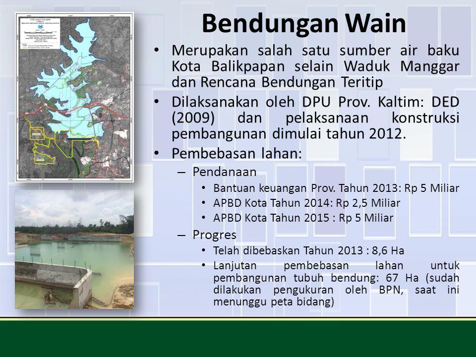 Bendungan Wain Merupakan salah satu sumber air baku Kota Balikpapan selain Waduk Manggar dan Rencana Bendungan Teritip Dilaksanakan oleh DPU Prov. Kal