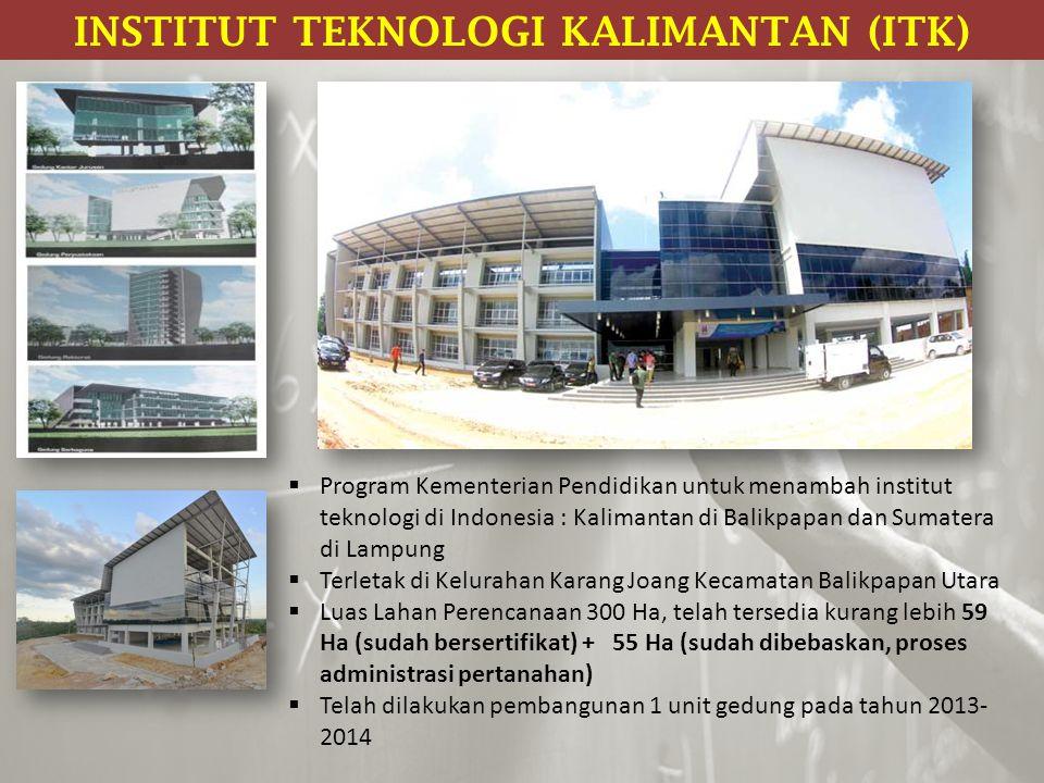  Program Kementerian Pendidikan untuk menambah institut teknologi di Indonesia : Kalimantan di Balikpapan dan Sumatera di Lampung  Terletak di Kelur