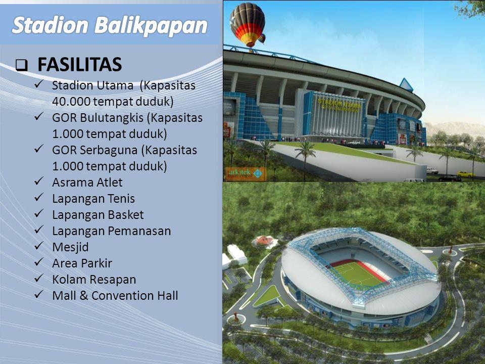  FASILITAS Stadion Utama (Kapasitas 40.000 tempat duduk) GOR Bulutangkis (Kapasitas 1.000 tempat duduk) GOR Serbaguna (Kapasitas 1.000 tempat duduk)