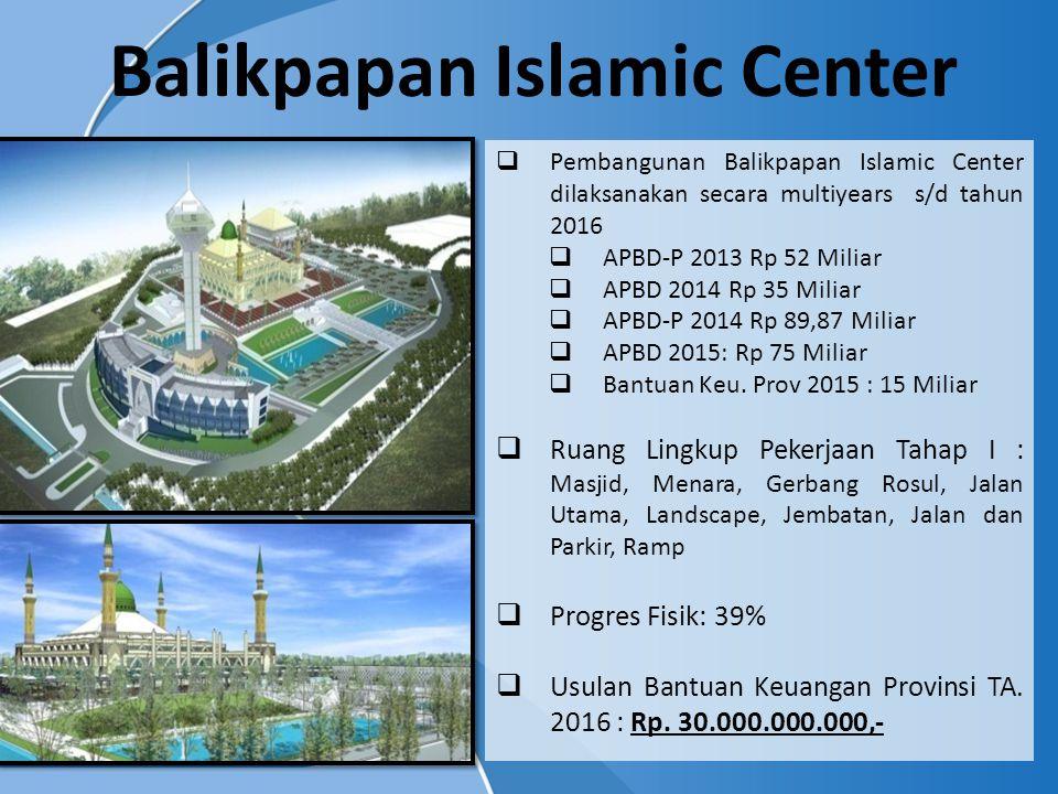  Pembangunan Balikpapan Islamic Center dilaksanakan secara multiyears s/d tahun 2016  APBD-P 2013 Rp 52 Miliar  APBD 2014 Rp 35 Miliar  APBD-P 201