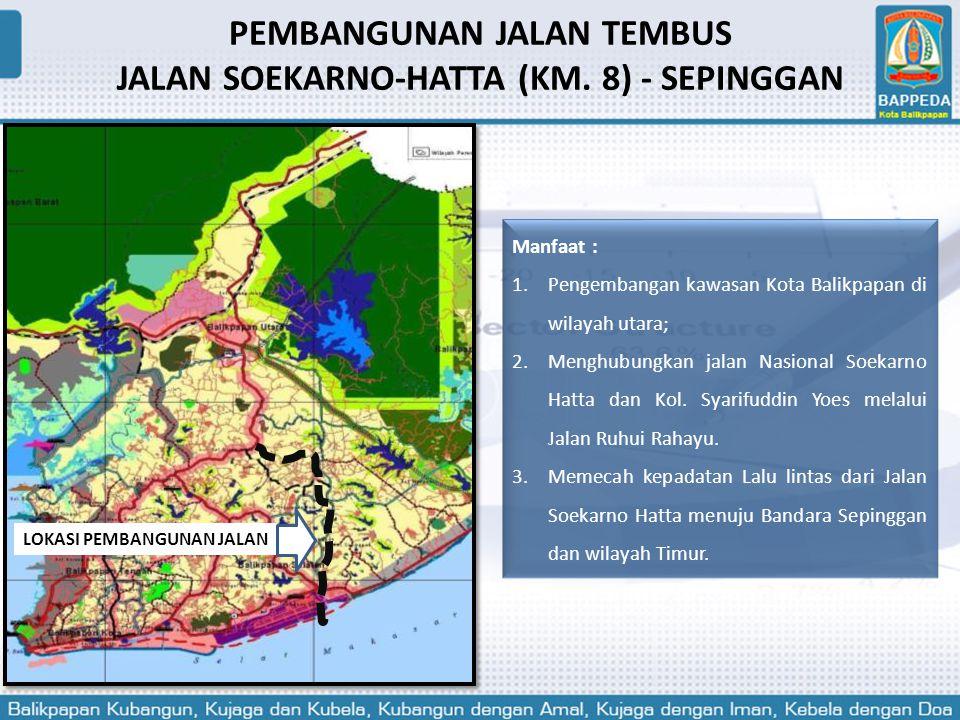 Manfaat : 1.Pengembangan kawasan Kota Balikpapan di wilayah utara; 2.Menghubungkan jalan Nasional Soekarno Hatta dan Kol. Syarifuddin Yoes melalui Jal