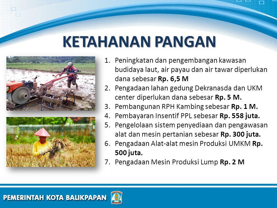 1.Peningkatan dan pengembangan kawasan budidaya laut, air payau dan air tawar diperlukan dana sebesar Rp. 6,5 M 2.Pengadaan lahan gedung Dekranasda da