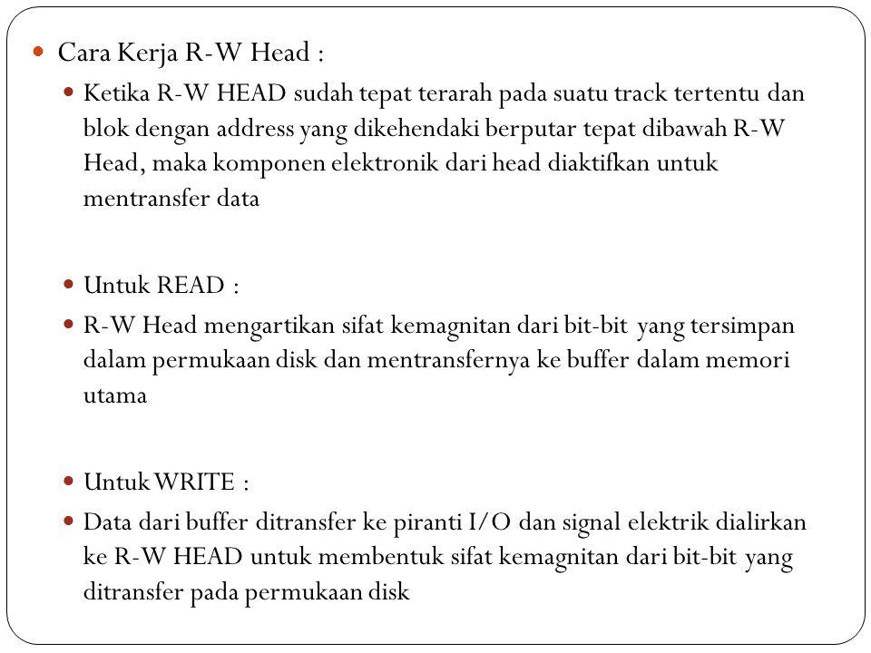 Cara Kerja R-W Head : Ketika R-W HEAD sudah tepat terarah pada suatu track tertentu dan blok dengan address yang dikehendaki berputar tepat dibawah R-W Head, maka komponen elektronik dari head diaktifkan untuk mentransfer data Untuk READ : R-W Head mengartikan sifat kemagnitan dari bit-bit yang tersimpan dalam permukaan disk dan mentransfernya ke buffer dalam memori utama Untuk WRITE : Data dari buffer ditransfer ke piranti I/O dan signal elektrik dialirkan ke R-W HEAD untuk membentuk sifat kemagnitan dari bit-bit yang ditransfer pada permukaan disk