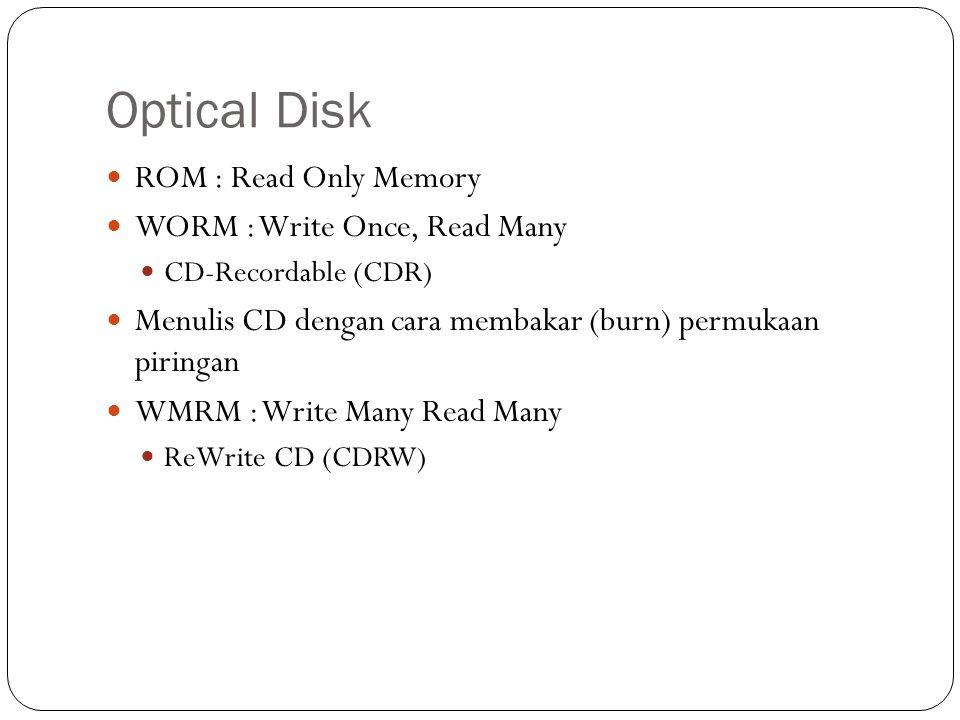 Optical Disk ROM : Read Only Memory WORM : Write Once, Read Many CD-Recordable (CDR) Menulis CD dengan cara membakar (burn) permukaan piringan WMRM : Write Many Read Many ReWrite CD (CDRW)
