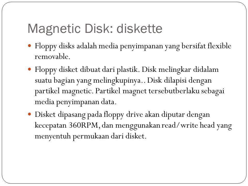 Magnetic Disk: diskette Floppy disks adalah media penyimpanan yang bersifat flexible removable. Floppy disket dibuat dari plastik. Disk melingkar dida